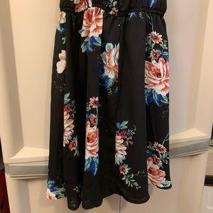 Dresses - Women's Black and Floral Dress